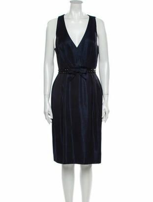 Carmen Marc Valvo V-Neck Knee-Length Dress Blue