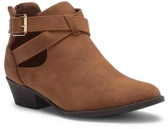 Top Moda Ankle Buckle Wrap Block Heel Bootie