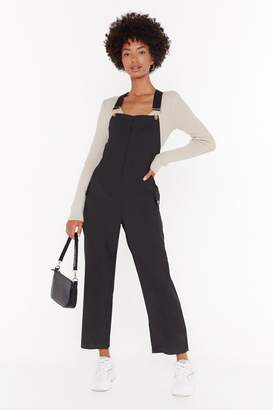 Nasty Gal Womens Work for It Cropped Dungarees - black - L