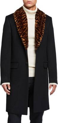 Fendi Men's Solid Overcoat w/ FF-Print Fur Collar