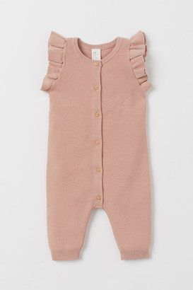 H&M Knitted cotton romper suit