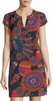Julie Brown Psychedelic Floral-Print Shift Dress