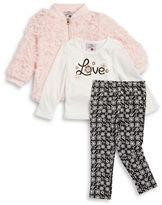 Little Lass Girls 2-6x Faux Fur Jacker, Graphic Top and Leggings Set