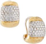 Roberto Coin Martellato 18k Huggie Hoop Earrings w/ Diamonds