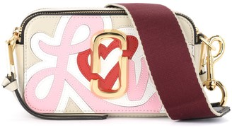 Marc Jacobs Snapshot Small Camera Bag Shoulder Bag In Beige And Pink Saffiano Leather