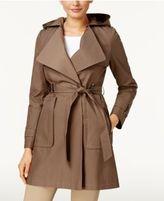 Via Spiga Hooded Water-Resistant Asymmetrical Draped Coat