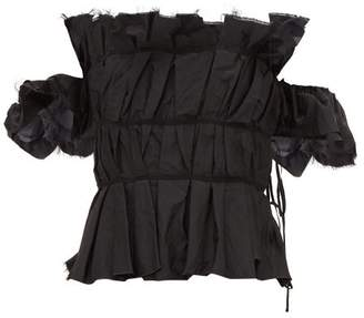 Brock Collection Off Shoulder Ruched Peplum Bodice Top - Womens - Black