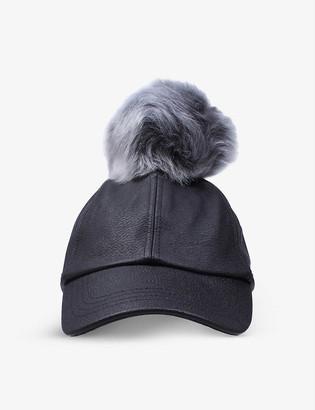 UGG Pom pom leather baseball cap