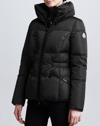 Moncler Hip-Length Puffer Jacket, Black