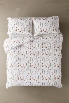 Urban Outfitters Pressed Flowers Duvet Cover Set - White DOUBLE at