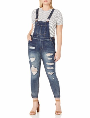 Dollhouse Women's Plus Size Destructed Skinny Overall