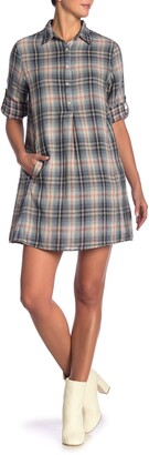 Max Studio Plaid Mini Shirt Dress