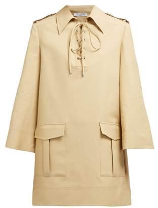 BEIGE Françoise Francoise - Lace Up Cotton Mini Dress - Womens