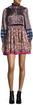 Marc Jacobs Paisley-Print Silk Babydoll Dress, Olive