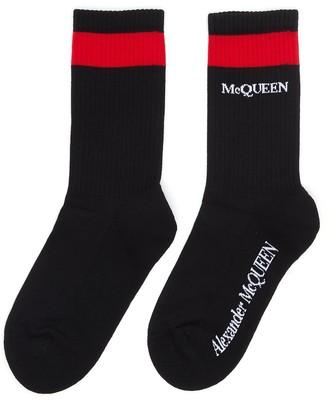 Alexander McQueen Mid calf contrast stripe logo print socks
