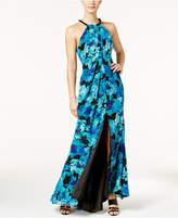 Calvin Klein Floral Draped Chiffon Halter Gown