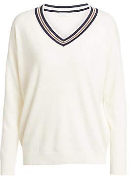 Brunello Cucinelli Women's Contrast V-Neck Cashmere Sweater