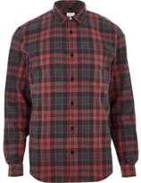River Island Mens Red check long sleeve shirt