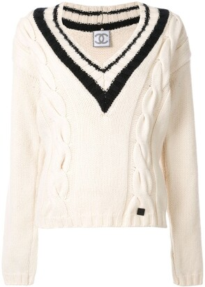 Chanel Pre Owned 2006 cable knit V-neck jumper