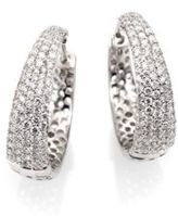 Roberto Coin Scalare Diamond & 18K White Gold Hoop Earrings/0.75