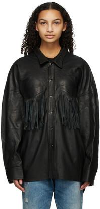 R13 Black Leather Fringe Shirt