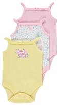 George 3 Pack Strappy Bodysuits