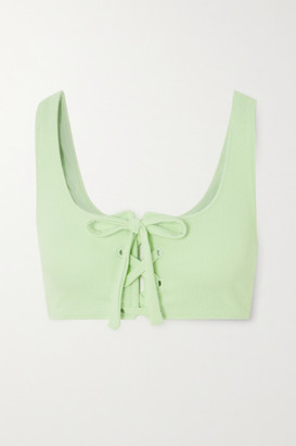 Ganni Net Sustain Lace-up Ribbed Bikini Top - Green