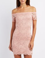 Charlotte Russe Lace Off-The-Shoulder Bodycon Dress