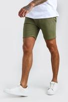 boohoo Mens Green Skinny Stretch Chino Shorts, Green