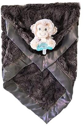 Zalamoon Luxie Pocket Plush Blanket with RaZbaby RaZ-Buddy JollyPop pacifier - Charcoal with Marlow Monkey