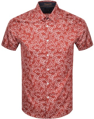 Ted Baker Floral Print Short Sleeved Shirt Red