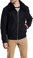 Slate & Stone Lincoln Wool Blend Faux Fur Collar Bomber Jacket