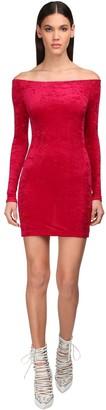 Balenciaga Velvet Mini Dress W/ Cycling Shorts