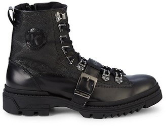 Karl Lagerfeld Paris Buckled-Strap Leather Combat Boots
