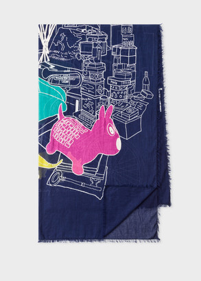 Women's Navy Embroidered 'Paul's Room' Motif Cotton Scarf