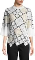 Oscar de la Renta Women's Wool-Blend Lace Patchwork Top
