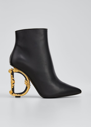 Dolce & Gabbana Logo Heel Leather Booties