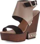 Charles David Teisha Leather/Suede Wedge Sandal, Taupe/Black