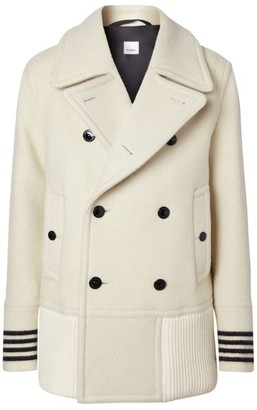 Burberry Stripe Cuff Wool Pea Coat