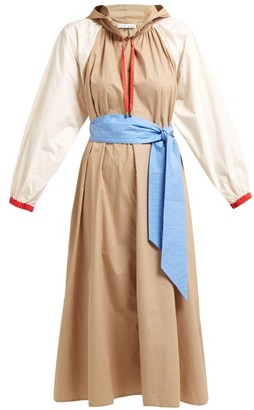 Apiece Apart Donostia Belted Cotton Dress - Womens - Beige Multi