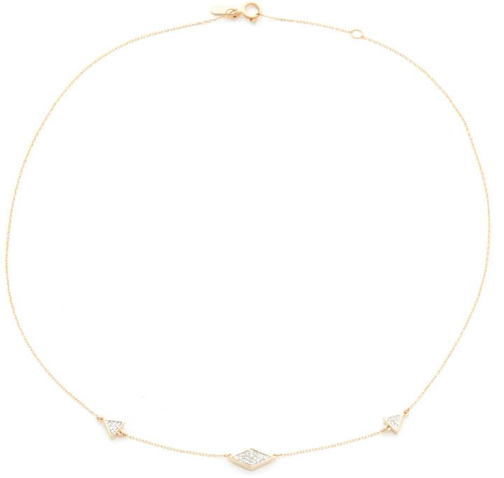 Adina 14k Gold Pave Triangle Chain Choker Necklace