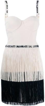 Elisabetta Franchi Fringed Logo Print Mini Dress