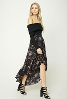 Forever 21 Floral Ruffle Maxi Skirt