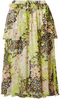 Opening Ceremony Faux Pearl-embellished Printed Crinkled-chiffon Skirt - Chartreuse
