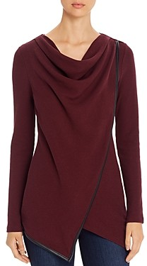 Andrew Marc Cowl Neck Waffle-Knit Top