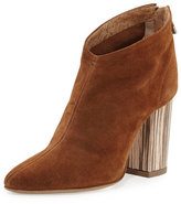 Alberto Fermani Lucciano Suede Wood-Heel Bootie, Brown