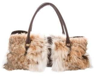 2ebdd82c4b8d Fendi Selleria Leather-Trimed Fur Bag