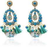 Ranjana Khan Blue Tear Drop Earrings with Tassels