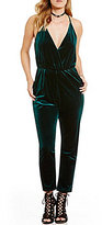 GB Velvet Surplice V-Neck Jumpsuit