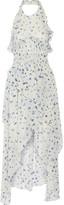 IRO Jessy Ruffled Printed Chiffon Halterneck Dress - Sky blue
